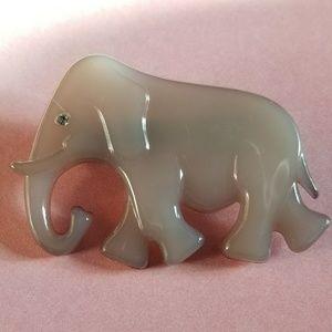 Vintage grey elephant brooch B&D Denmark pin